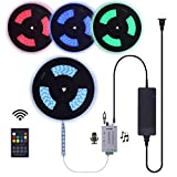 65 Feet Waterproof 24V Continuous Length Long Runs RGB LED Strip Light Kit incl Audio Input Music Sensor RF Remote Controller and Power Supply