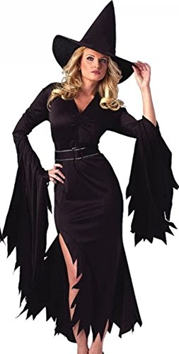 NonEcho Halloween Costumes For Women Retro Witch Sorceress Costume 2 Pieces with Hat ()