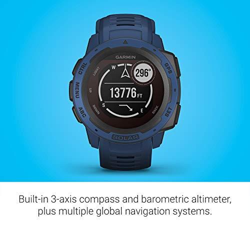 Garmin Instinct Solar, Solar-Powered Rugged Outdoor Smartwatch, Built-in Sports Apps and Health Monitoring, Dark Blue