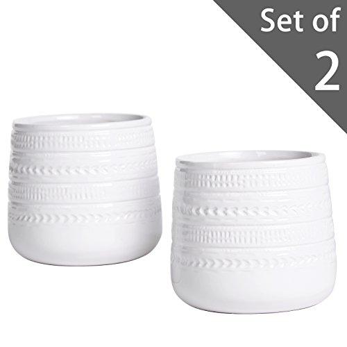 Set of 2 Mini White Ceramic Succulent Planters, Decorativ...