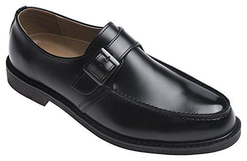 Agos Mens Single Monk Strap Oxford Casual Dress Shoes Nero