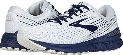 Brooks Men's Adrenaline GTS 19 White/Grey/Navy 9.5 D US