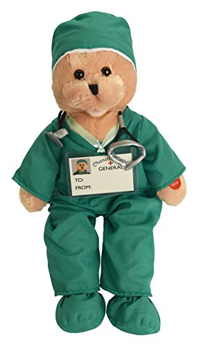 "Chantilly Lane Scrubs Bear Singing I'll Be There Plush, 19"", Green from Chantilly Lane"