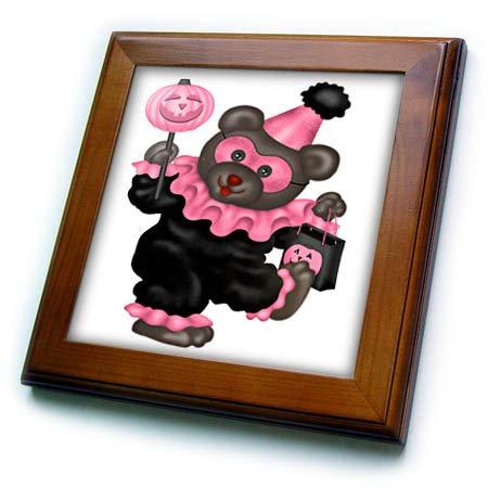 3dRose Anne Marie Baugh - Illustrations - Cute Pink Bear Dressed As A Clown Illlustration - 8x8 Framed Tile (ft_318011_1)