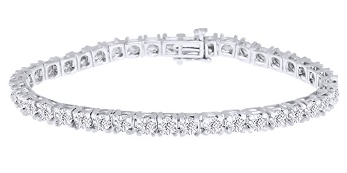 Christmas Sale Single Row Tennis Bracelet In 14k White Gold Over Sterling Silver 1 CT Round White Natural Diamond 7.5
