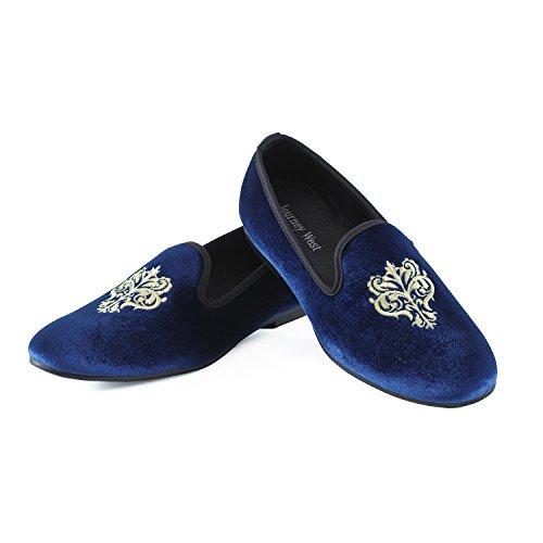 Rojo de Terciopelo Zapatos Mocasines Bordado Azul Azul Negro Hombres Los nw70BqvfA