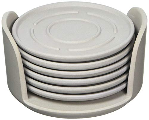 A'Domo PV-BAM-6240 Point-Virgule Set of 6 Bamboo Fiber Coasters with Holder Gray Ø 9.5Cm, Grey ()