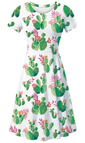 uideazone Women's Scoop Neck Cactus Printed Short Sleeve Casual Printed T Shirt Skater Dress