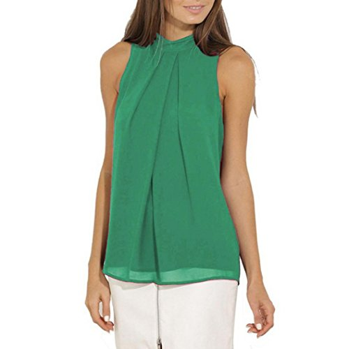 Bafaretk Womens Sleeveless Blouse Chiffon Vest Ruffle Tee Shirt Loose Solid Tank Tops (M, Light Green)
