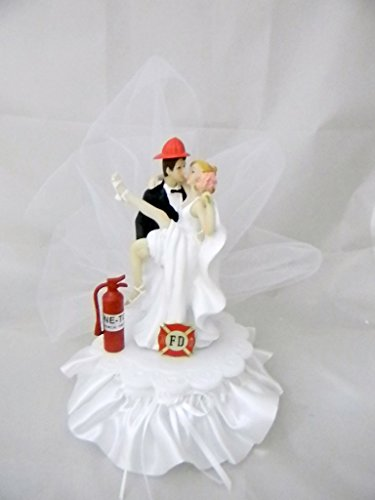 Wedding Party Reception Sexy Bride and Fireman Cake Topper]()