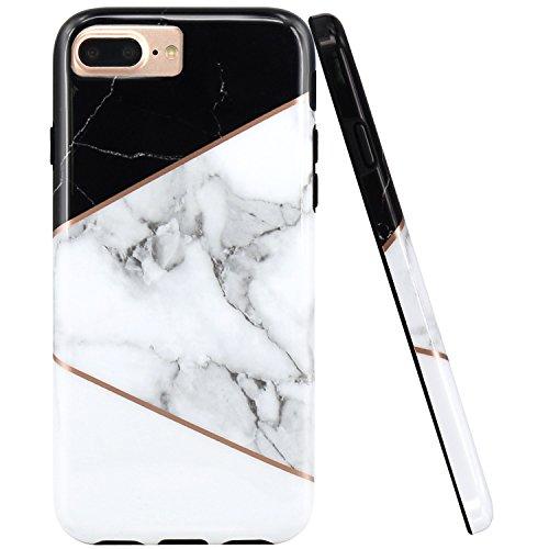 (JAHOLAN Geometric Black White Marble Design Black Bumper TPU Soft Rubber Silicone Phone Case Compatible with iPhone 7 Plus/8 Plus/6 Plus/6S)