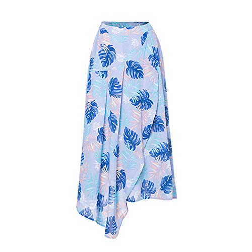 (Skirts Irregular Side Split Colorful Skirt Women Clothing Spring Summer Casual Skirt Beach Wear,Blue,L)