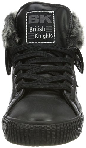 British Knights Damen Roco Hohe Sneaker Weiß (Fur Fabric Black/Black)