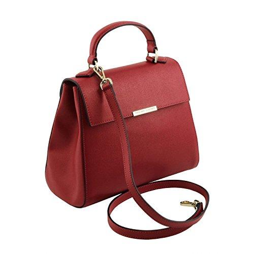 Tuscany Leather TL Bag - Bolso a mano pequeño en piel Saffiano - TL141628 (Blue oscuro) Rojo