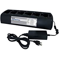 Power Products TWC6M + 6 TWP-MT3 6 Unit Bank Gang Rapid Charger for Motorola CP200 CP200D PR400 CP150 and more