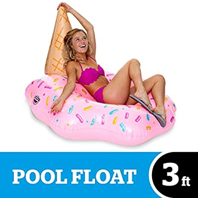 BigMouth Inc. Melting Ice Cream Pool Float, Thick Vinyl Raft, 4 feet Wide, Holds 200 Pounds and Includes Patch Kit 48: x 48