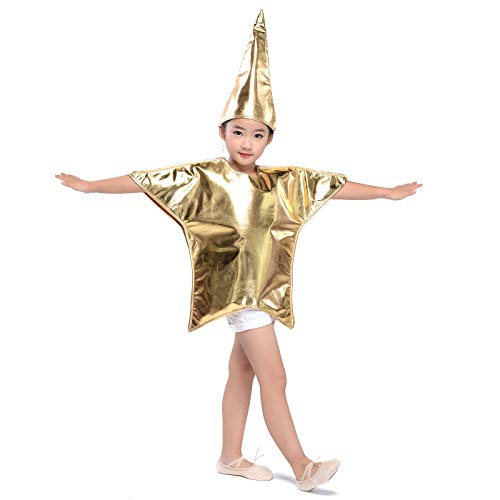 Children Shiny Gold Star Costumes Fancy Dress Christmas Halloween Cosplay Outfit (Gold Star, L-Kids)