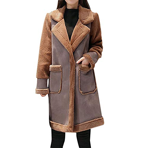 Limsea Women's Coat Leather Jacket, Faux Fur Patchwork Fleece Lapel Lined Windprrof Shearling Small Brown for $<!--$47.13-->