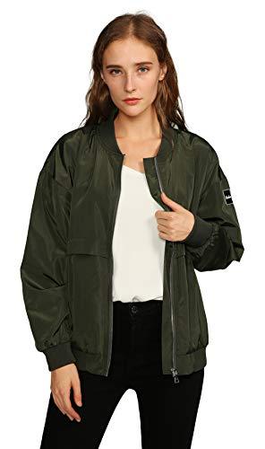 Urban CoCo Women's Classic Bomber Jacket Biker Zipper Coat (XL, Army Green)