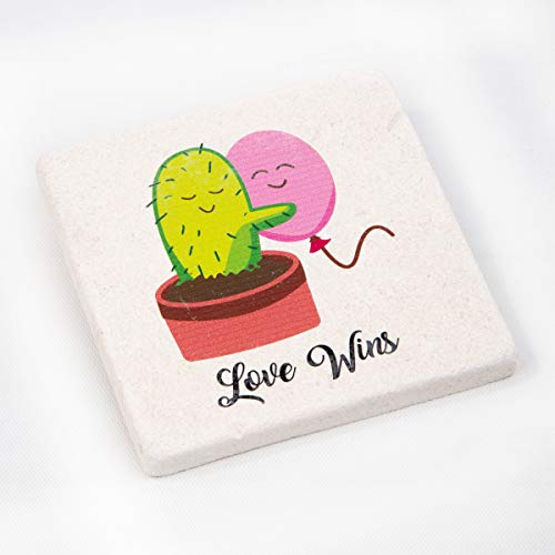 (Love Wins Design Absorbent Stone Drink Coaster - 1 pieces - Great Gift)