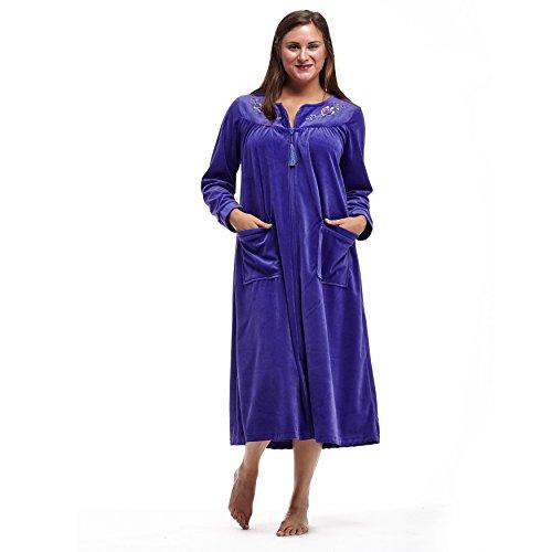La Cera Long Sleeve Zip Front Robe Plus Size 3X Purple