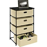Storage Side Table with 4 Basket Bins