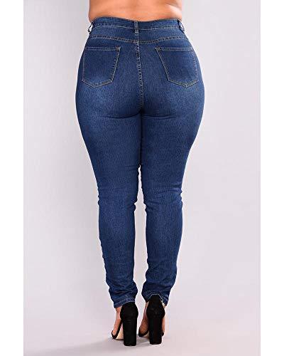 Pantaloni Donna Quge Blu Elastico Leggings Skinny Vita Jeans Marino Alta d0dB6q