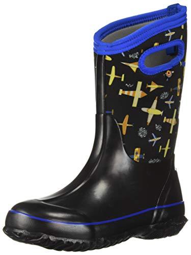 Bogs Classic High Waterproof Insulated Rubber Neoprene Rain Boot Snow, Planes Black/Multi, 2 M US Little Kid