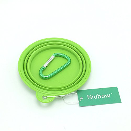 Niubow Pet Travel Bowl, Silicone Pet Portable Collapsible Food & Water Bowl for Dogs Cats with Free Bonus Carabiner Clip – Size: 1.5 Cups/12 Oz (green)