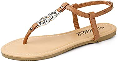 SANDALUP Thong Flat Sandals with Ring Metal Buckle for Women Summer