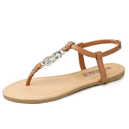 Brown Rubber Thong - SANDALUP Flat Sandals for Women Thong Style Inlaid with Ring Meta Brown-Silver 08