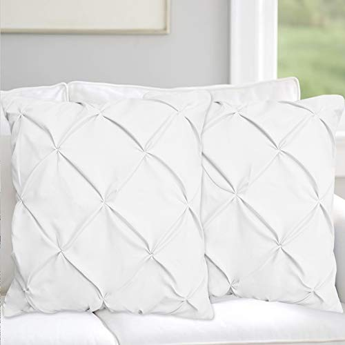 Pinch Plated / Pintuck White Pillow Shams Set of 2 - Luxury 600 Thread Count 100% Egyptian Cotton Cushion Cover Euro Size Decorative Pillow Cover Tailored Poplin European Pillow Sham Euro 26