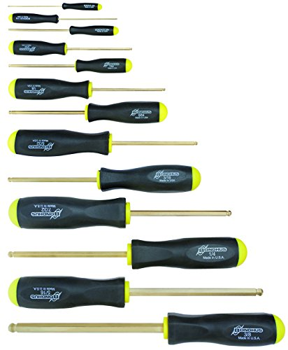 Bondhus 38637 Set of 13 Balldriver Screwdrivers with GoldGuard Finish, sizes .050-3/8-Inch