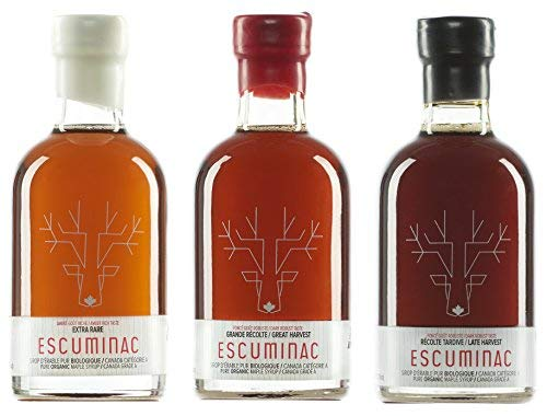 Award Winning Escuminac Canadian Maple Syrup Gift Bundle Grade A Including Our Extra Rare, Great Harvest and Late Harvest - Pure Organic Unblended Single Forest - 3 X 6.8 fl ()