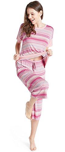 Ink+Ivy Womens Sleep Shirt and Capri Lounge Pants Pajama Set Sunrise S