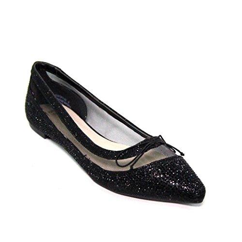 Shoebrats Mujeres Jessie Rhinestone Flat Black