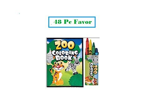 48 Pc ZOO ANIMAL Party Favors ~ 24 coloring books ~ 24 boxed crayons ~ Easter Basket Filler ()