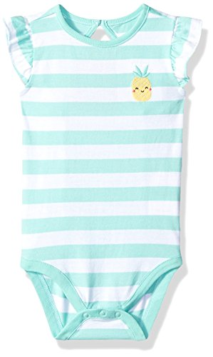 Gymboree Toddler Girls' 1-Piece Flutter Sleeve Bodysuit, Sweet Mint Stripe, 18-24 Mo