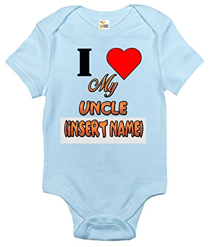 Custom Personalized Baby Bodysuit I Love My Uncle One-piece Baby Clothes (6-12 Months, Light Blue) ()