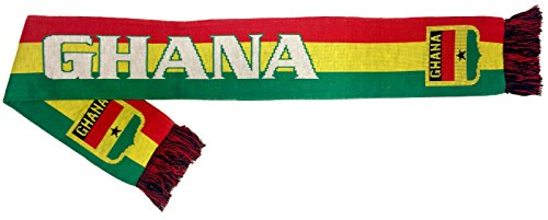 (RUFFNECK National Soccer Team Ghana Jacquard Knit Scarf, One Size, Red/Yellow/Green)