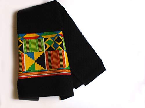 Absorbent Embellished Kitchen Towels, Africa Inspired, Global Style Tea Towels