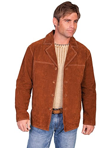 Scully Leather Mens Boar Suede Contrast Stitch Four Button Car Coat Cinnamon 3XT