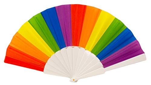 Rainbow Gay Pride LGBT Folding Hand Fan, Handheld Fans for Event, Cruise, Club, Music Festival, Rave, Parade, Circuit Party, Birthday Party, Single or 2 Pack (Rainbow Stripes)