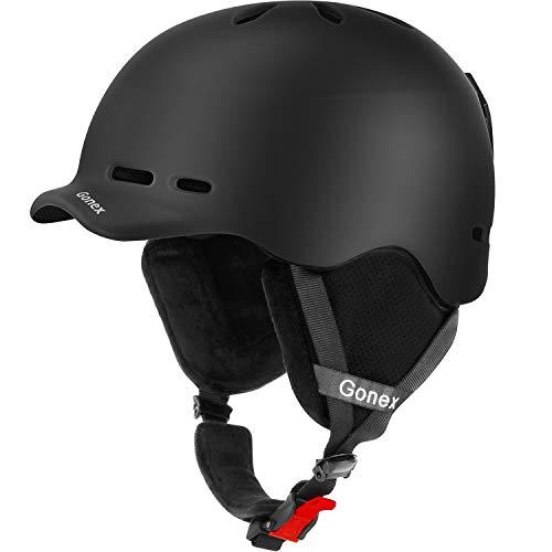 Gonex Ski Helmet, Snow Snowboard Helmet with Detachable Inner Padding, Lightweight Helmet for Women & Young Size M Black