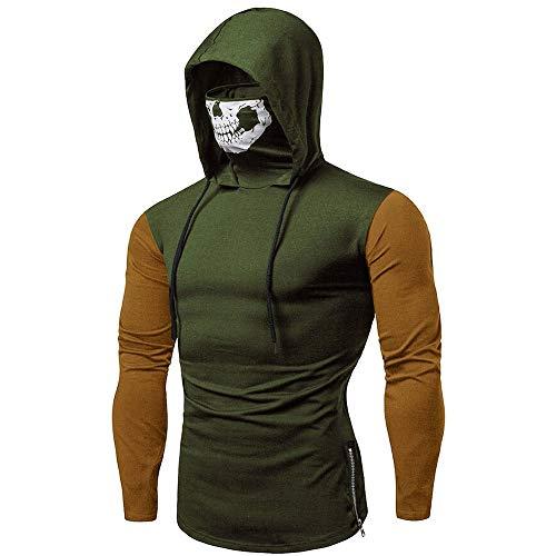 Mens Hoodie,Realdo Mens Skull Mask Pullover Casual Solid Zip Long Sleeve Hooded Sweatshirt Tops