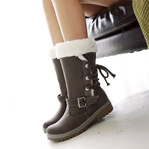 Nieve Marr Invierno Negro Libre de Deportes Calentar Piel y Calzado Mujer Zapatos Planas Aire Outdoor Botas Sneaker awTqfnwE