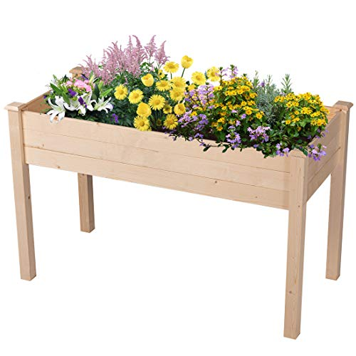 GOOD LIFE Outdoor Patio Wooden Raised Garden Bed Elevated Planter Flower Box Nature Color - Electric Resin Planter