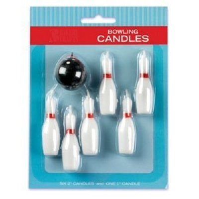 Bowling Birthday Party Supplies (7pc Bowling Pins and Ball Candle)