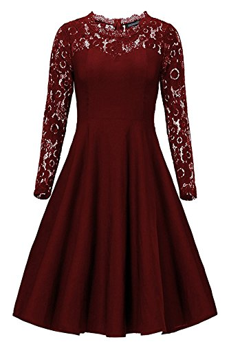Lace Burgundy Swing Sleeve Women Party Dress Dress Long Backless Vintage Cocktail Laorchid EqC6F6