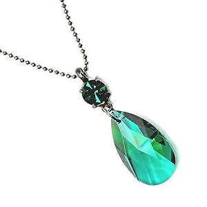 Collar de cristal de Swarovski pera gota en verde / cristal pera gota collar / collar Swarovski lágrima en verde / forma de pera de cristal Swarovski collar en verde
